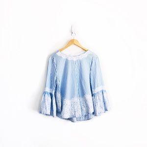 Zara Tie-Back Pinstripe Lace Blouse